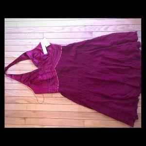Maggie London Silk Halter Dress. Wine. NWT